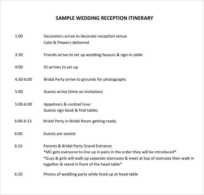 Wedding Reception Schedule Template