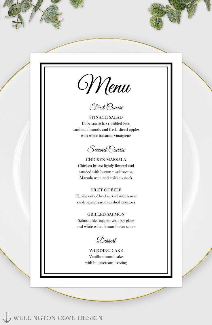 Wedding Rehearsal Dinner Menu Template