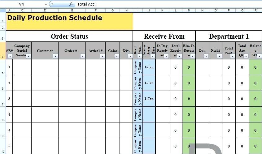 Weekly Production Schedule Template Excel
