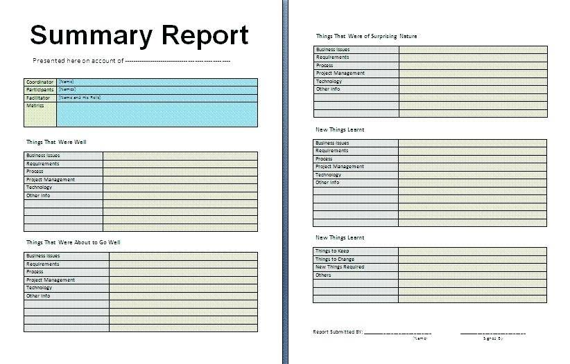Weekly Sales Summary Report Template