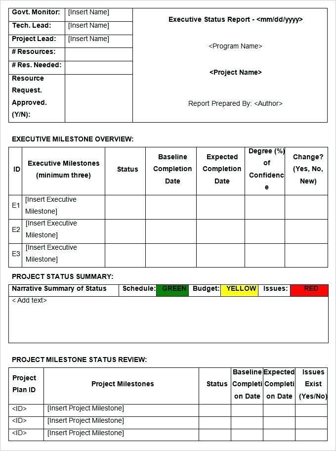 Weekly Status Report Dashboard Template