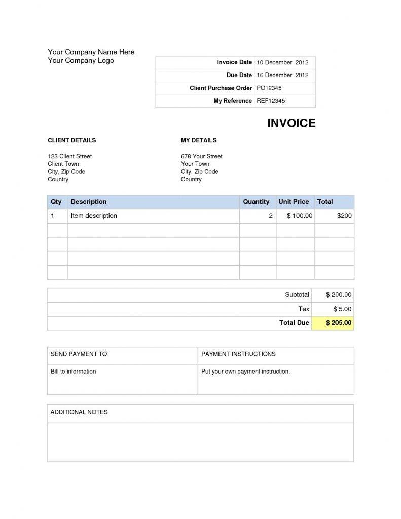 Word Document Invoice Template Pdf