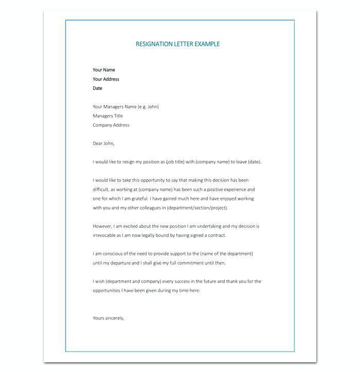 Word Document Templates Resignation Letter