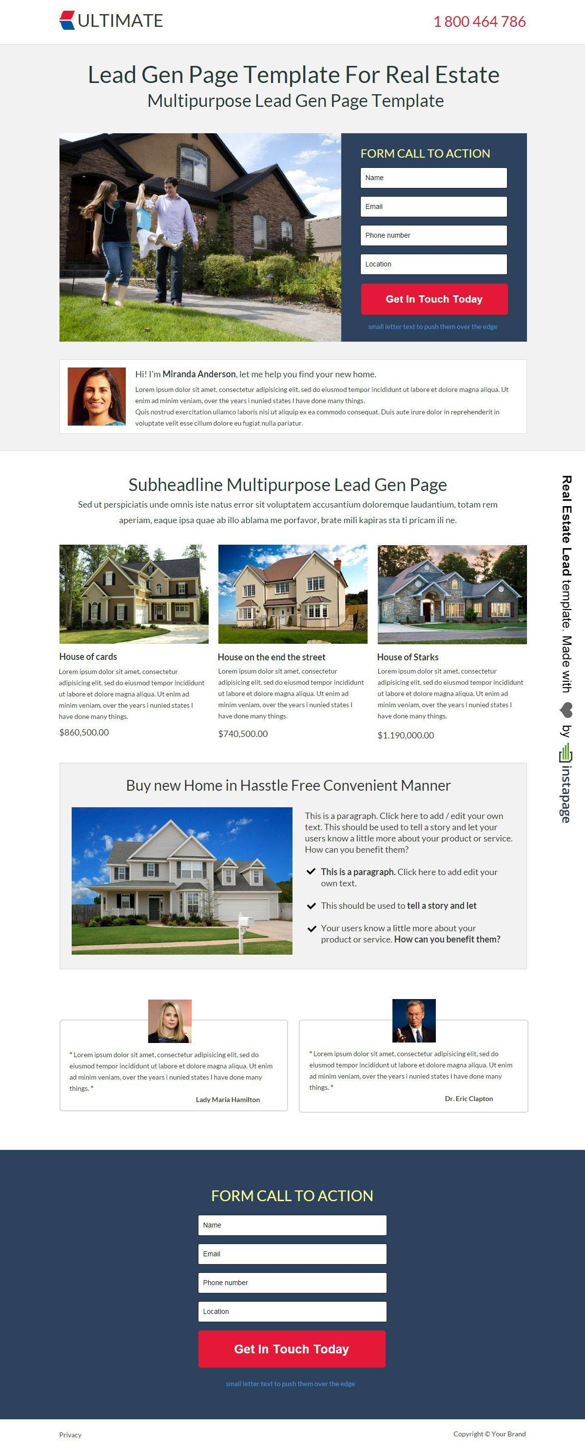 Wordpress Real Estate Landing Page Template