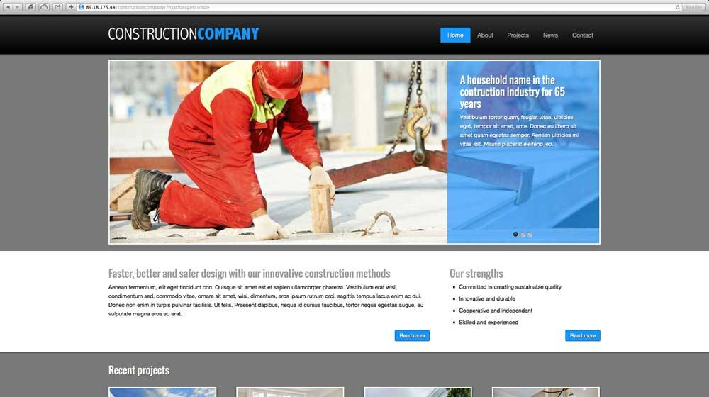 Wordpress Template Construction Company