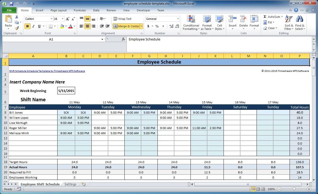 Work Schedule Planner Excel Template