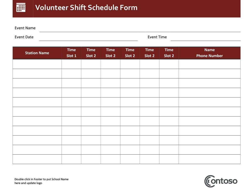 Yearly Employee Shift Schedule Template Excel