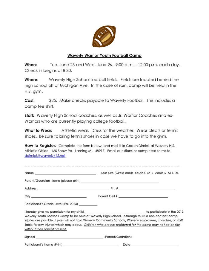 Youth Ministry Registration Form Template