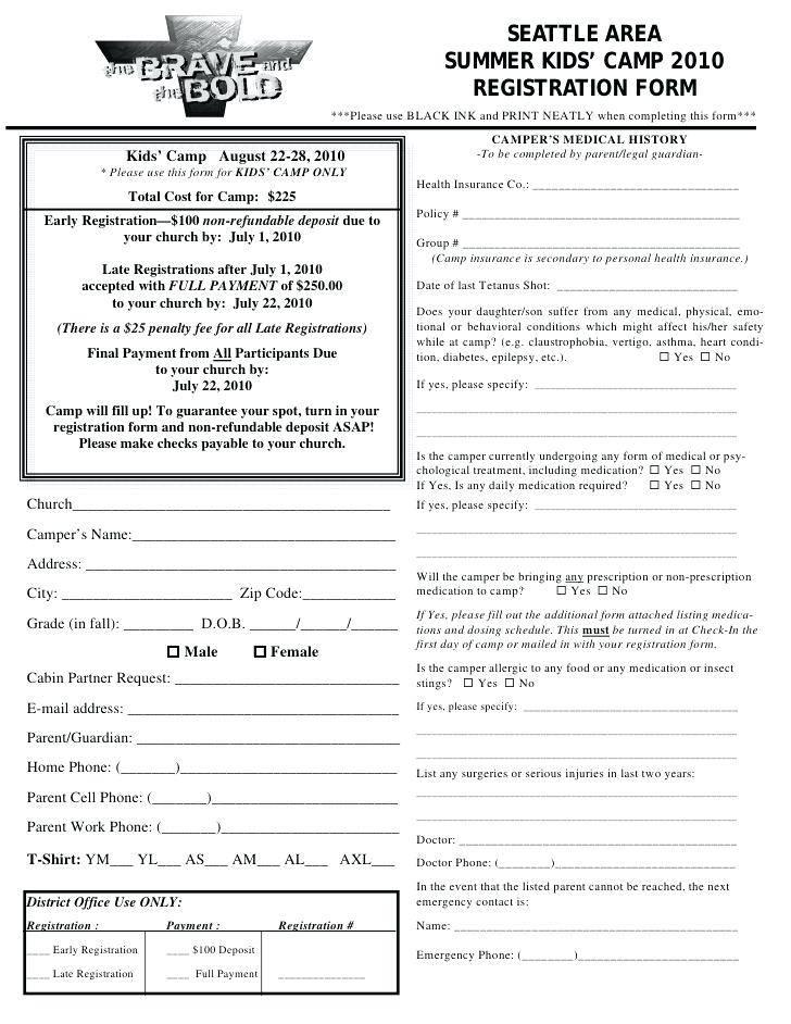 Youth Wrestling Registration Form Template